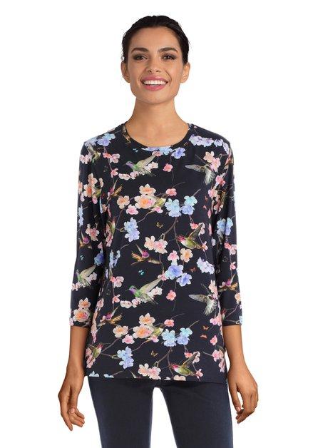 Zwart T-shirt met vogels en bloemen en 3/4 mouwen