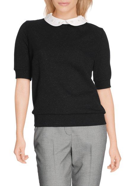 Zwart T-shirt met wit kraagje met parels