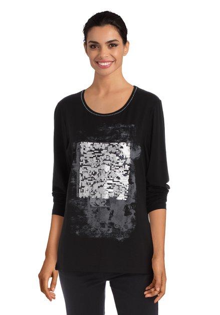 Zwart T-shirt met zilverkleurige pailletten