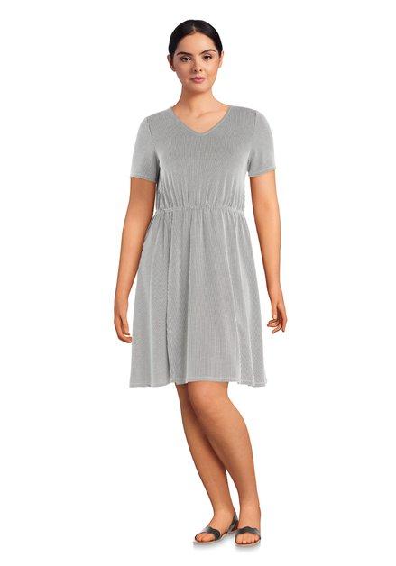 Zwart-wit gestreepte jurk met korte mouwen