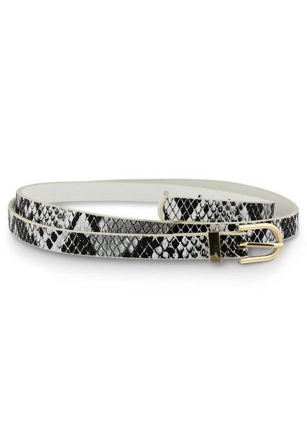 Zwart-wit riem met slangenprint