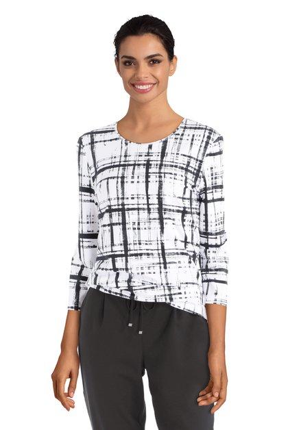 Zwart-witte T-shirt met lijnenpatroon