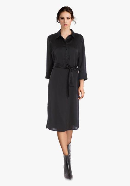 Zwart zijdeachtig kleed
