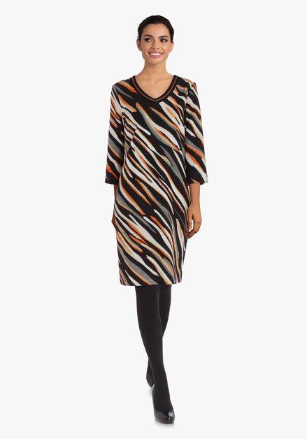 Zwart zijdeachtig kleed met oranje strepen