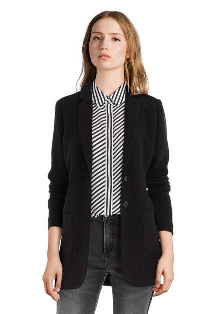 Zwarte blazer met witte verticale streep