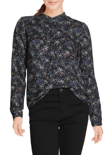 Zwarte bloes met geometrische print