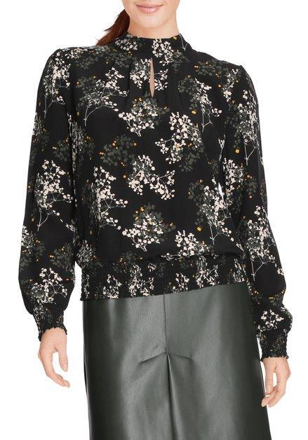 Zwarte bloes met gestileerde bloemenprint