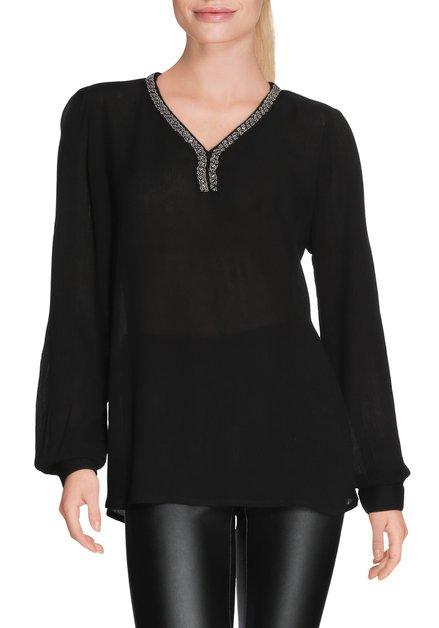 Zwarte bloes met zilverkleurige parels