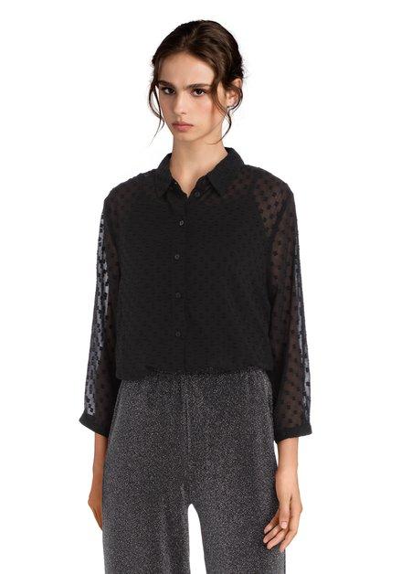 Zwarte blouse in structuurstof
