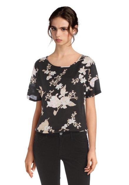 Zwarte blouse met beige en roze bloemen