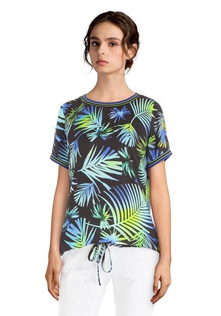 Zwarte blouse met blauw-groene bladerprint