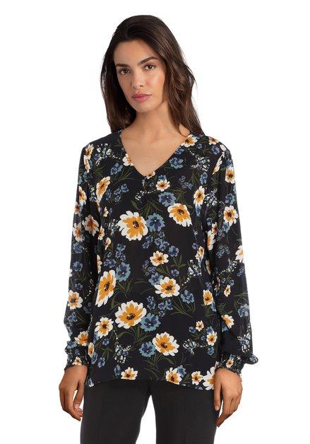 Zwarte blouse met bloemen en knopjes