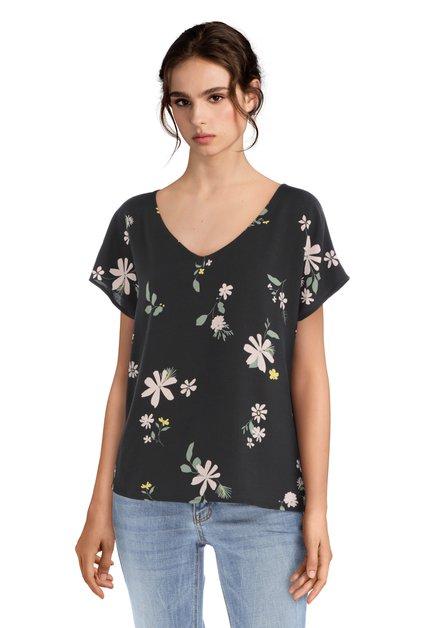 Zwarte blouse met bloemen en lichte V-hals