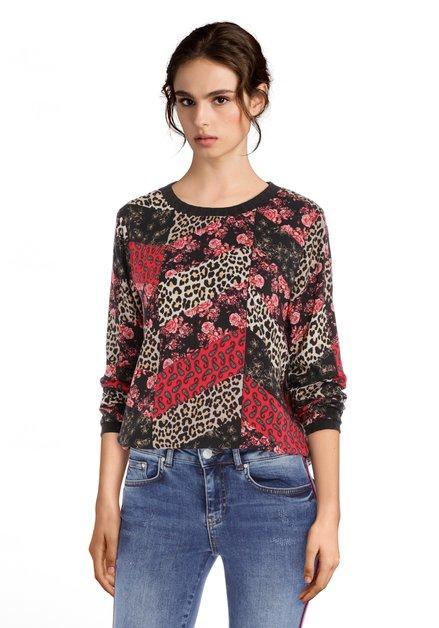 Zwarte blouse met eclectische print