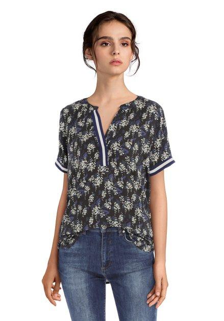 Zwarte blouse met elastische biezen en V-hals