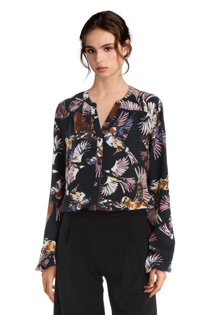 Zwarte blouse met exotisch vogelmotief