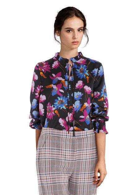 Zwarte blouse met exotische bloemenprint