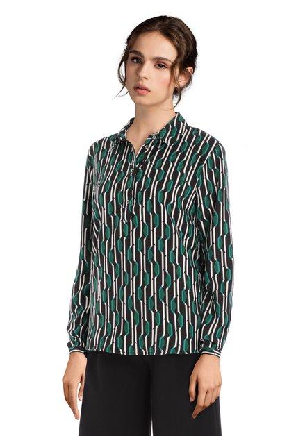 Zwarte blouse met groene grafische print
