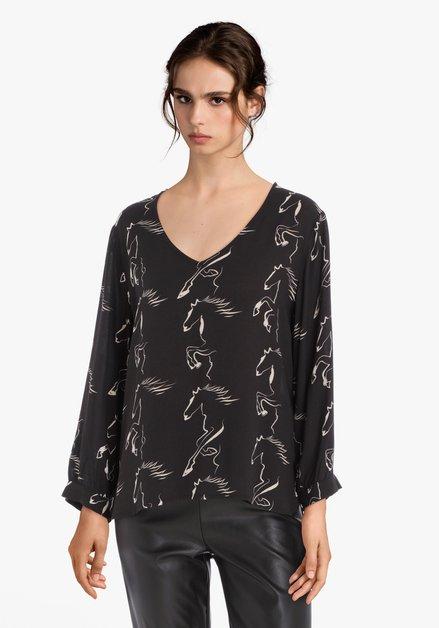 Zwarte blouse met paardenprint