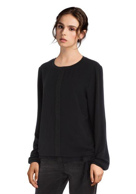 Zwarte blouse met striklint aan de taille