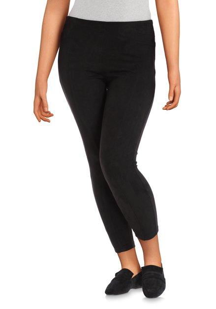 Zwarte broek in faux daim - slim fit