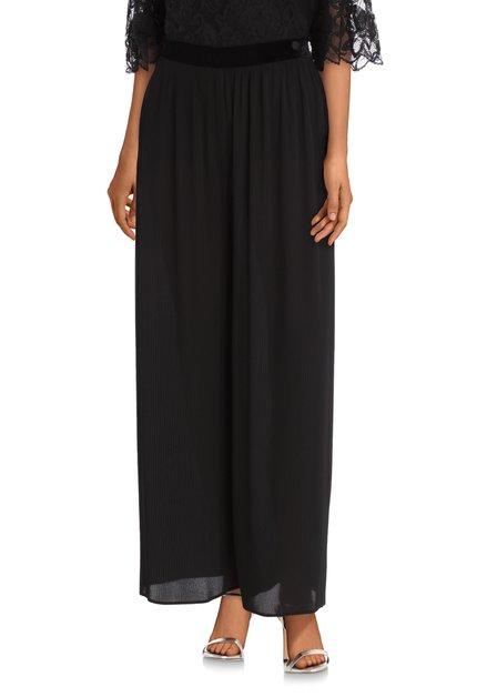 Zwarte broek in plisséstof - straight fit