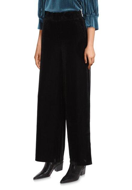 Zwarte broek in ribfluweel - straight fit