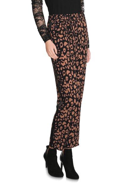 Zwarte broek met bruine panterprint