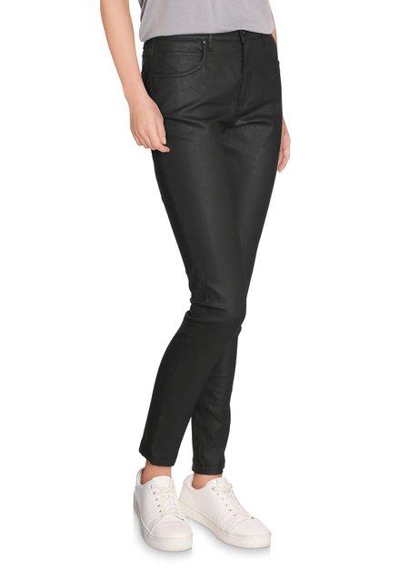 Zwarte broek met coating - slim fit