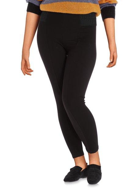 Zwarte broek met geborduurde taille - slim fit