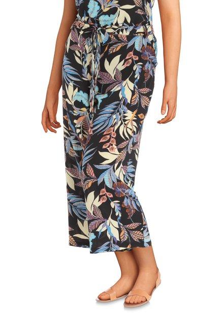 Zwarte broek met kleurrijke tropische print