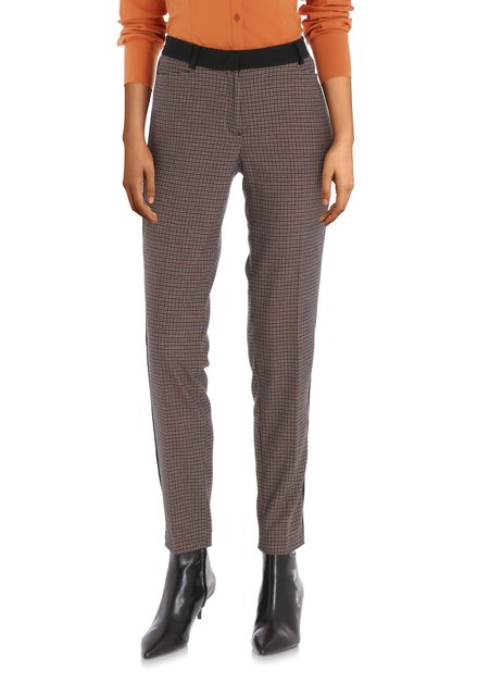 Zwarte broek met oranje retroprint - slim fit