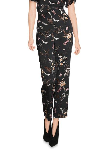 Zwarte broek met oriëntaalse print