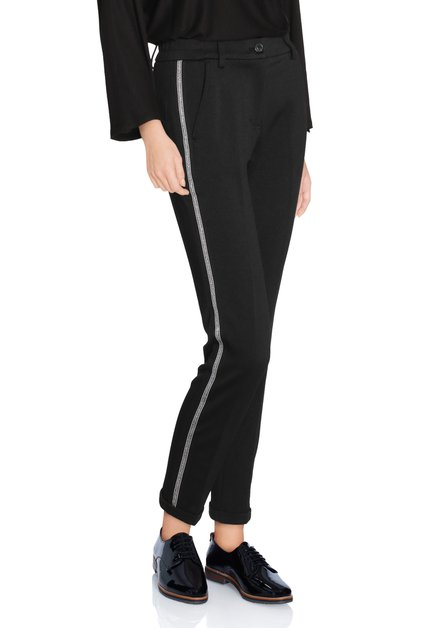 Zwarte broek met zilverkleurig biesje - slim fit