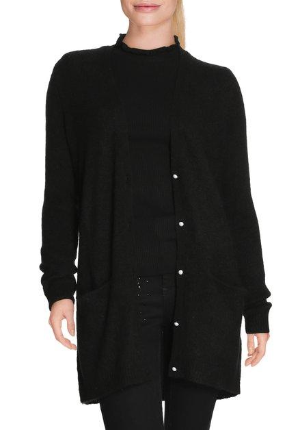 Zwarte cardigan met parelmoerachtige knopen