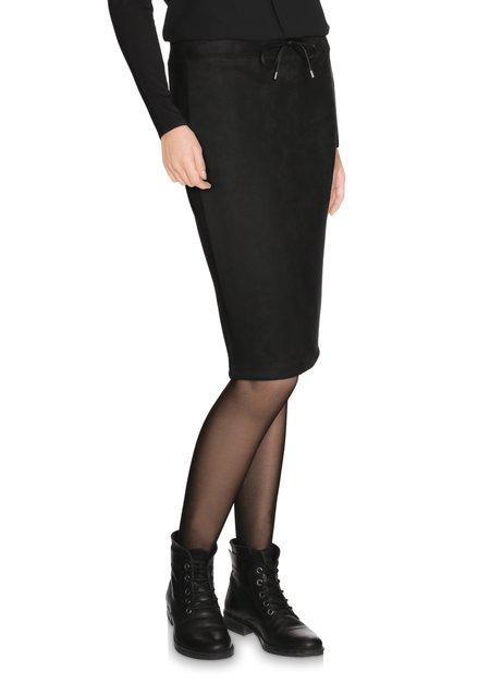 Zwarte faux-daim kokerrok