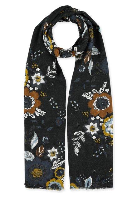 Zwarte foulard met blauwe en bruine bloemen