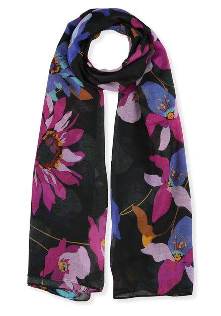 Zwarte foulard met kleurrijke bloemen