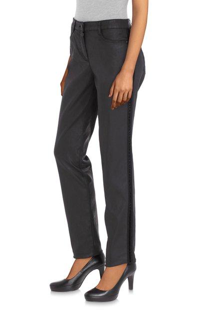 Zwarte gecoate broek - slim fit
