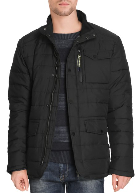 Zwarte gematelasseerde jas