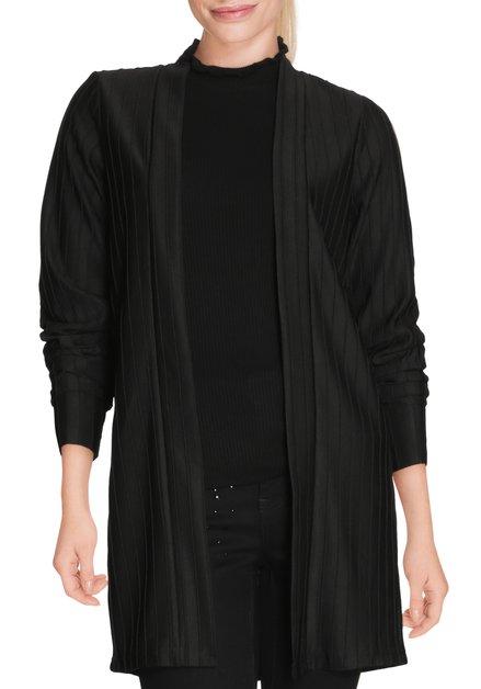 Zwarte geribde open cardigan