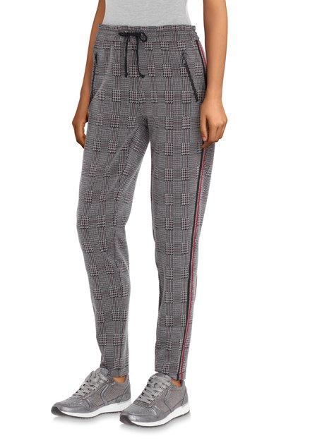 Zwarte geruite broek met rood biesje - slim fit
