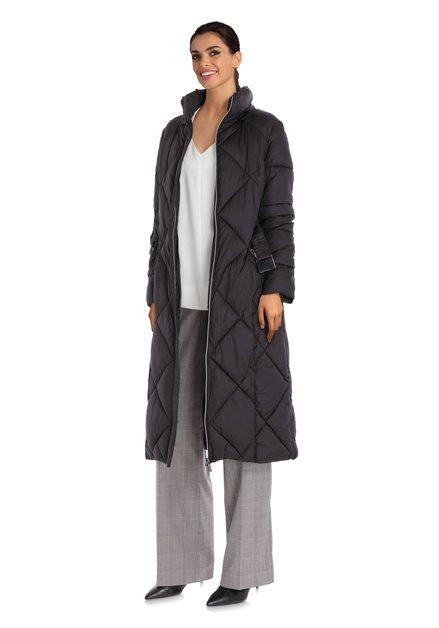 Zwarte gewatteerde jas met afneembare kap