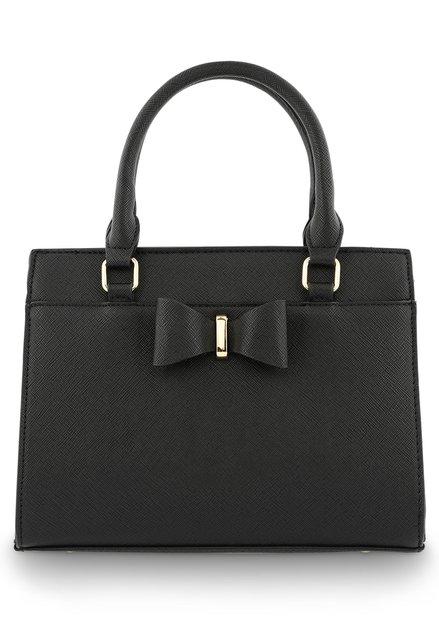 70c1e6057a7 Goudkleurige handtas in kunstleder met strik · Zwarte handtas in kunstleder  met strik ...
