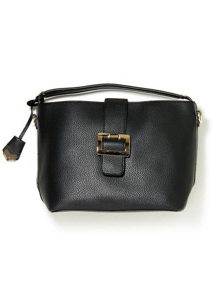 Zwarte handtas in kunstleder met structuur