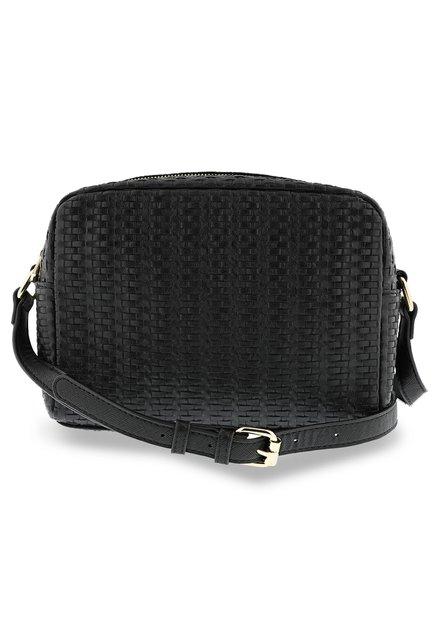 Zwarte handtas in kunstleder met textuur