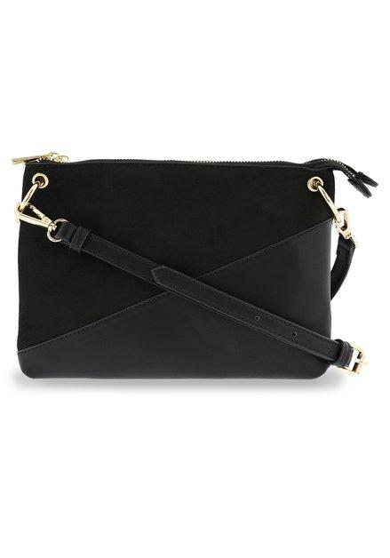 Zwarte handtas met faux-daim details