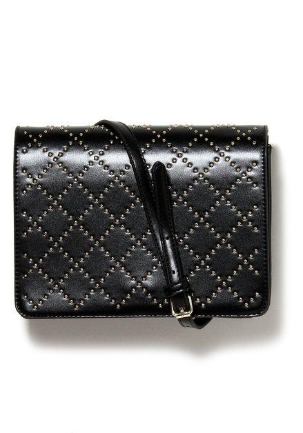 Zwarte handtas met goudkleurige studs