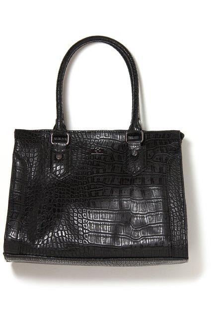 Zwarte handtas met krokodillenprint in kunstleder