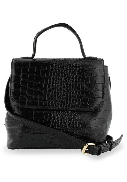 Zwarte handtas met krokodillenprint